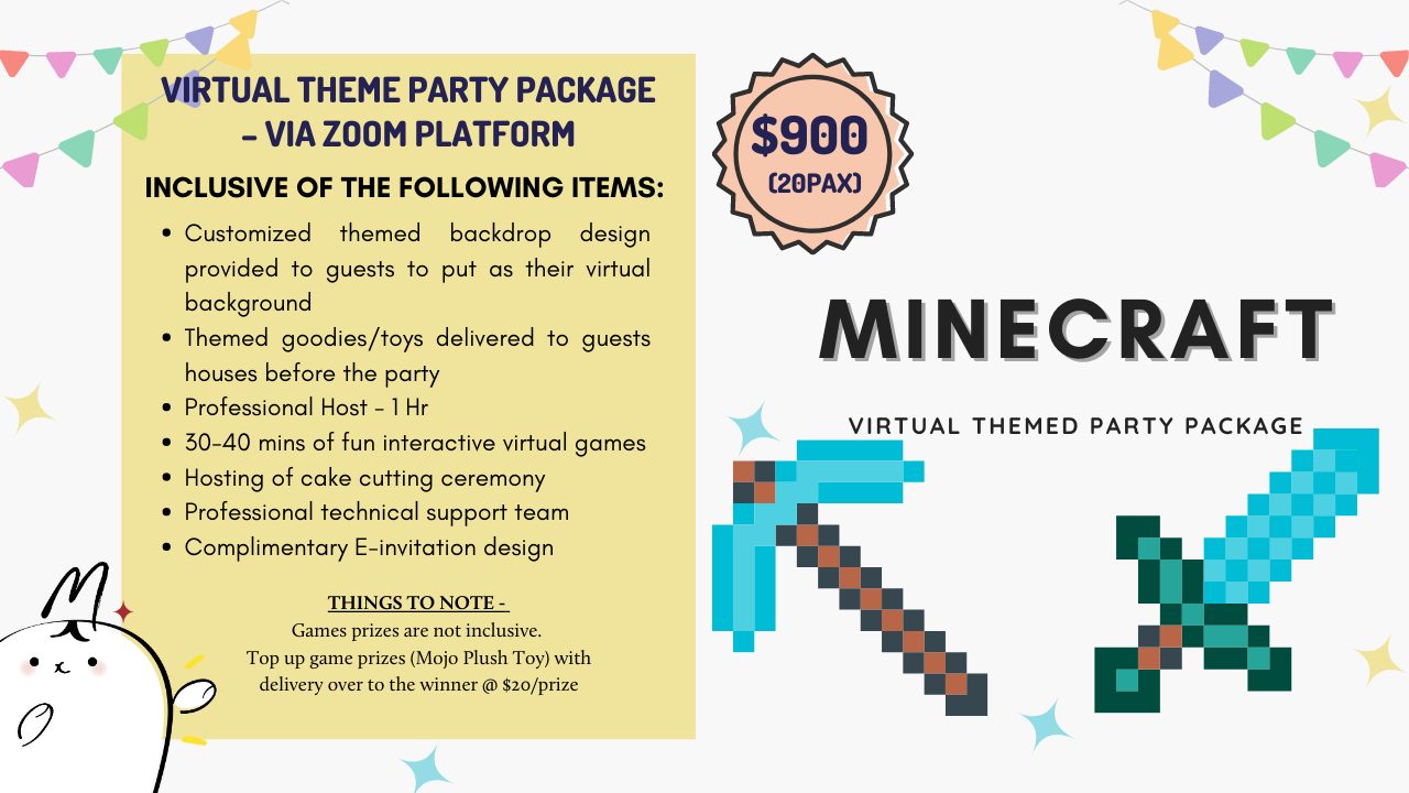Minecraft Inspired Virtual Theme Party